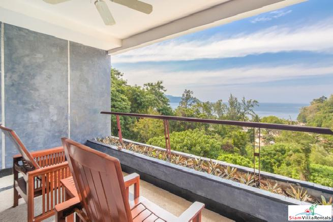 Seaviews from this One Bedroom Hillside Condo in Kata Beach.
