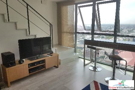 Two Storey Loft Duplex with Unbelievable City Views for Rent in Bangchak, Bangkok