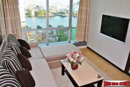 Baan Sathorn Chaophraya | Two Bedroom, Two Bathroom Condo for Rent, High Floor & Great View of Chao Phraya River