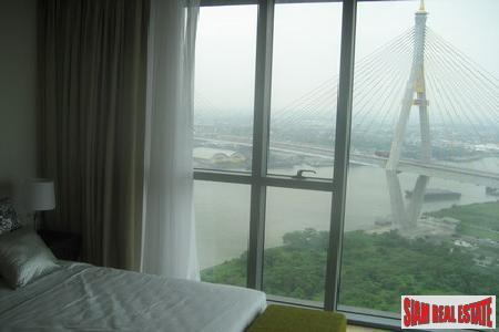 Spectacular views of Chao Phraya river on 23rd floor of The Pano Rama III, 2 bedrooms 2 bathrooms condominium for sale