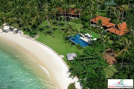 Thai Style Beachfront Pool Villa with Three or Six Bedrooms and Private Tennis Court in Laem Sor, Samui