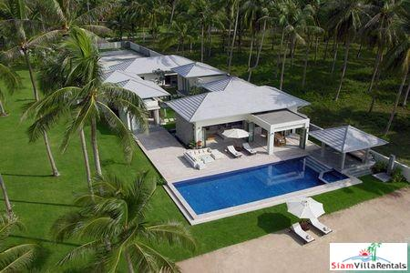 Contemporary Beachfront Pool Villa with Three or Five Bedrooms and Private Tennis Court in Laem Set, Samui